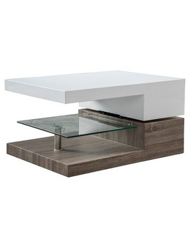 Bridgetown Rectangular Rotatable Coffee Table W/ Glass Glossy White/Oak   Christopher Knight Home by Christopher Knight Home