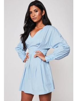 Blue Poplin V Neck Ruched Waist Mini Dress by Missguided