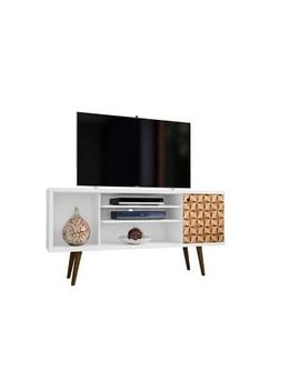 "53.14"" Liberty Mid Century Modern Tv Stand With 4 Shelves And 1 Door   Manhattan Comfort by Manhattan Comfort"