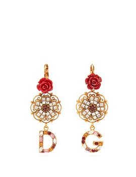 Crystal Embellished Floral Earrings by Dolce & Gabbana