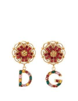 D&G Crystal Embellished Drop Earrings by Dolce & Gabbana