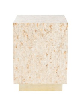 Juno Rect Mosaic Side Table Beige/Gold   Safavieh by Safavieh