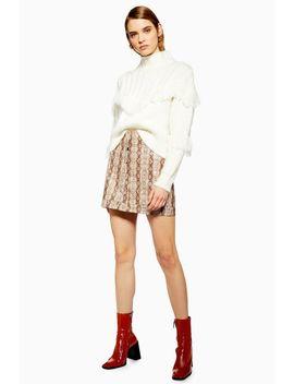 Snake Popper Pu Mini Skirt by Topshop