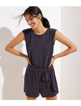 Crossover Back Tie Waist Romper by Loft