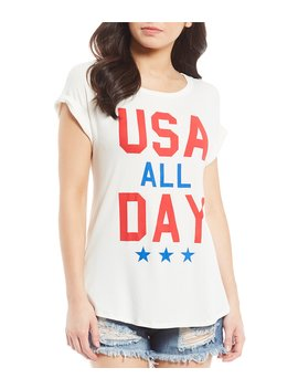 Usa All Day Tie Front Graphic Tee by Moa Moa