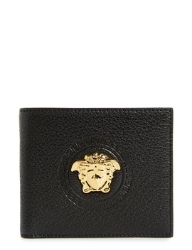 Gold Medusa Leather Wallet by Versace