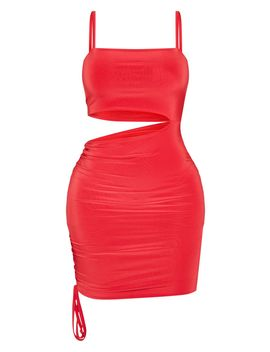 Shape Red Slinky Cut Out Side Ruched Bodycon Dress by Prettylittlething