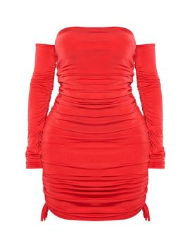 Shape Red Slinky Ruched Side Bodycon Dress by Prettylittlething