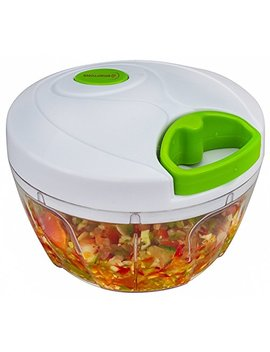 Brieftons Manual Food Chopper, Compact & Powerful Hand Held Vegetable Chopper / Blender To Chop Fruits / Vegetables / Nuts / Herbs / Onions / Garlics For Salsa / Salad / Pesto / Coleslaw / Puree by Brieftons