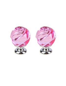 First Decor Pack Of 2 Vintage Crystal Floral Rose Door Knobs Handle Drawer Kitchen Cabinet Knobs + Screw (Pink) by First Decor