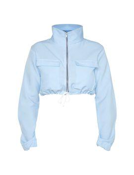 Shape Dusty Blue Utility Zip Front Crop Top  by Prettylittlething