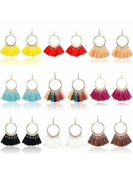 9 Pairs Tassel Hoop Earrings For Women Colorful Fan Shape Drop Earrings Statement Earrings For Women Girls Daily Wear Fashion Jewelry Valentine Birthday Christmas Gifts by Unijew