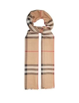 House Check Wool Blend Scarf by Burberry