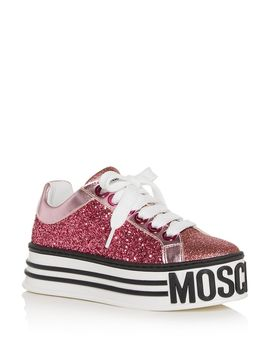 Women's Glitter Low Top Platform Sneakers by Moschino