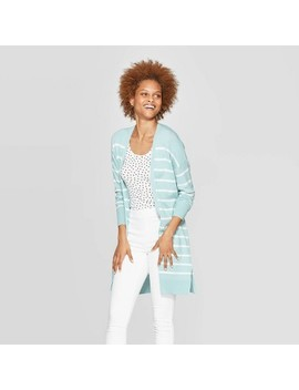 Women's Striped Long Sleeve Cardigan   A New Day Turquoise by A New Day Turquoise