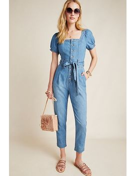 Pilcro Square Necked Denim Jumpsuit by Pilcro And The Letterpress