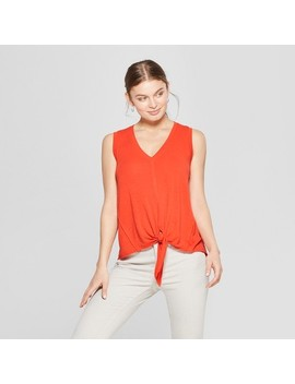 Women's V Neck Tie Front Tank   Universal Thread by Neck Tie Front Tank