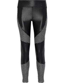 Forge Mesh Paneled Coated Stretch Leggings by Koral