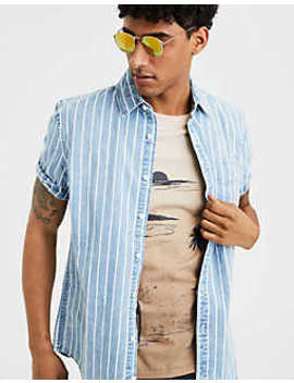 Ae Striped Denim Button Up Shirt by American Eagle Outfitters