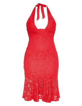 Red Lace Halter Midi Dress by Prettylittlething