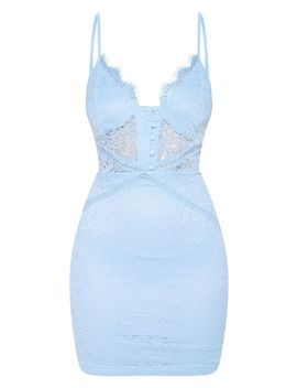 Dusty Blue Lace Button Detail Bodycon Dress by Prettylittlething