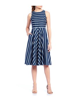 Striped Sleeveless A Line Midi Dress by Eliza J