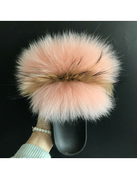 Peach Pink/ Brown Real Fox Fur Slides Slipper Indoor Outdoor Sandals Flat Shoes by Ebay Seller
