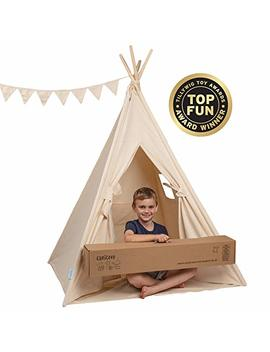 Canicove Teepee Tent For Kids   Award Winning 100 Percents Cotton Play Tent   Large Indoor/Outdoor Tipi For Boys & Girls + Free Fun Flags! by Canicove