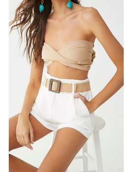 Linen Blend Self Tie Tube Top by Forever 21