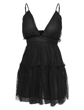 Black Dobby Mesh Ruffle Skater Dress by Prettylittlething