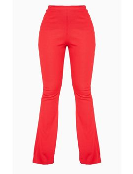Red Bandage Rib Flared Pant by Prettylittlething