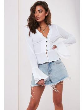White Peplum Hem Horn Button Blouse by Missguided