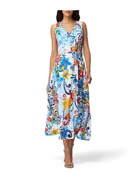 Printed Tie Waist Sleeveless A Line Midi Dress by Tahari Asl