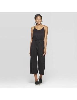 Women's V Neck Strappy Belted Jumpsuit   Xhilaration Black by Neck Strappy Belted Jumpsuit