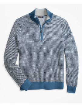 Jacquard Half Zip Sweater by Brooks Brothers