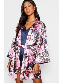 Digital Floral Satin Kimono Robe by Boohoo