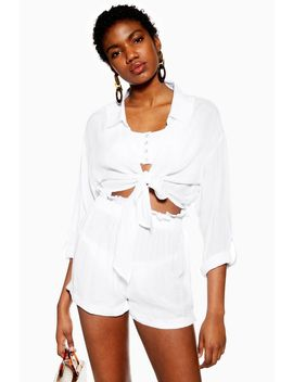 White Tie Knot Beach Shirt by Topshop