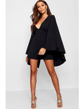 Extreme Cape Sleeve Plunge Playsuit by Boohoo