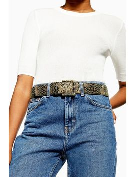 Snake Covered Buckle Belt by Topshop