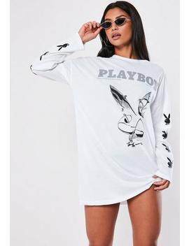 Playboy X Missguided T Shirt Kleid Mit Bunny Ärmeln In Weiß by Missguided