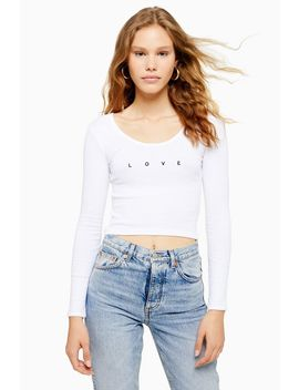 Long Sleeve 'love' Picot Top by Topshop