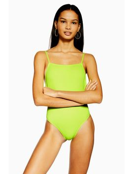 Neon Yellow Straight Neck Swimsuit by Topshop