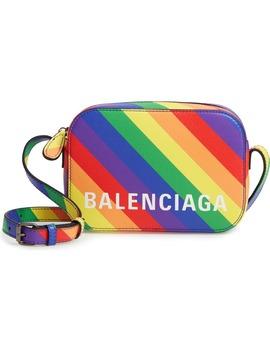 Lgbtqia+ Pride Rainbow Leather Crossbody Camera Case by Balenciaga