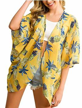 Traleubie Women's Beach Cover Up Floral Print Chiffon Summer Swimwear Kimono Cardigan by Traleubie
