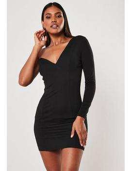 Black One Shoulder Sweetheart Neck Mini Dress by Missguided
