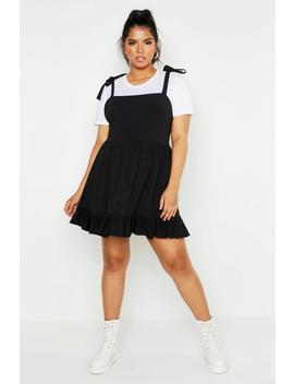 Plus Tie Strap Skater Pinafore by Boohoo