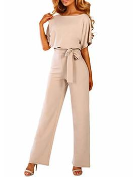 Happy Sailed Women Casual Loose Short Sleeve Belted Wide Leg Pant Romper Jumpsuits S Xl by Happy Sailed