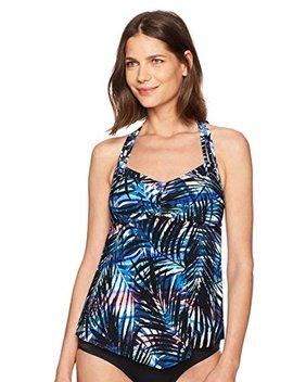 Coastal Blue Women's Control Swimwear Halter Neck Pointed Front Tankini Top by Coastal Blue