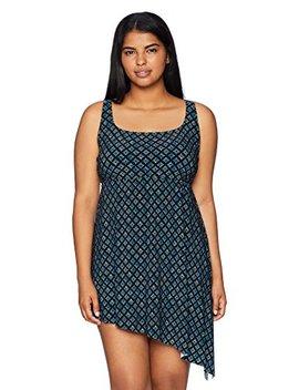 Coastal Blue Women's Size Plus Side Tie Longline Tankini by Coastal Blue