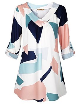 Miusey Womens Roll Up Long Sleeve Top Casual V Neck Layered Chiffon Blouses by Miusey